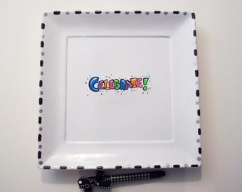 SQUARE Ceramic Signature  Plate for CELEBRATION