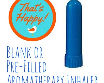 Aromatherapy Inhaler - Plain Blue-  Filled with Your Choice of Essential Oil Blend