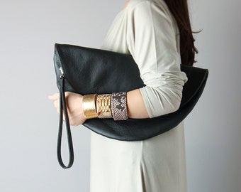 Big leather clutch - circle leather purse, folded clutch, big clutch, gift for her