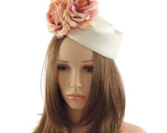 Small White Hat Pink Flowers Fascinator Ascot Kentucky Derby Proms **SAMPLE SALE**