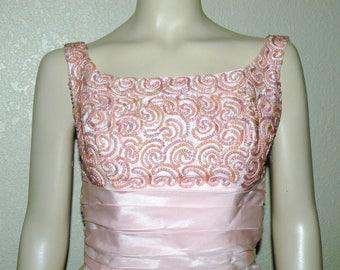 1960s Sugar Pink Sequins and Taffeta Formal bust 33