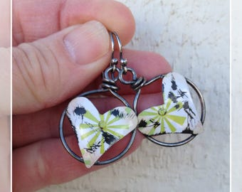 My Heart Bursts Of Chartreuse Tinned Wire Circles with Grunged Tin Heart Dangle Earrings
