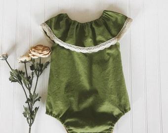 baby green linen romper, girls green linen playsuit, green boho style romper, linen boho style romper, baby green linen romper, ruffle neck