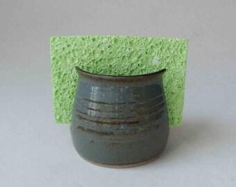 SHIPS FAST Ceramic Sponge Holder, Gift Ideas for Him, Blue Gray Letter Holder, Kitchen Spongeholder, Handmade Pottery, Birthday Gift for Her