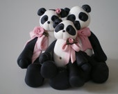 RESERVED FOR TERESA Polymer Clay Panda Family by Helen's Clay Art