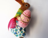 An Original Needle Felted light Ginger Rabbit with Needle Felted Egg