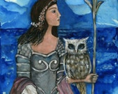 Greek Goddess Athena, Athena wall art, Greek goddess, print on canvas, Moon Goddess, strong women, woman warrior, gift for woman