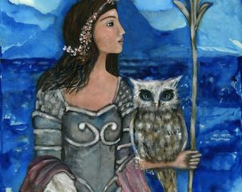 Goddess Athena - empowering woman decor - Greek Goddess - Athena - Goddess of Wisdom - Goddess wall art - print on canvas - woman warrior