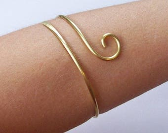 "SALE - 7.5"" LOWER ARMLET - Brass Armband - Upper Arm Jewelry - Upper Arm Cuff - Gold Armlet - 50% Goes to Breast Cancer Survivor"