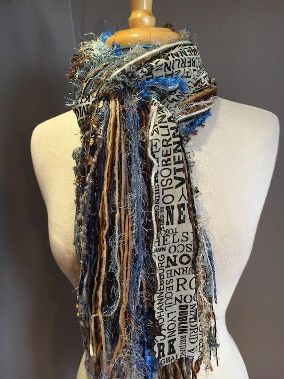 Fringe art scarf, Blues Traveler, cream, blue black grey, city print, Newsprint, Boho Scarf, travel gift, city scarf, ribbon scarf
