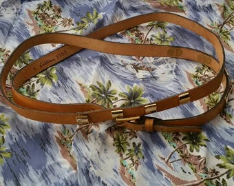 Vintage tan leather double wrap belt gold block rivets - can be worn multiple ways
