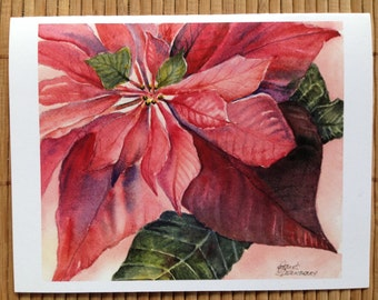 """Poinsettia, Red Christmas Flower,Poinsettia  Christmas Card, Giclee Art Print of Christmas Poinsettia 4.25""""x 5.5"""" by Janet Dosenberry"""