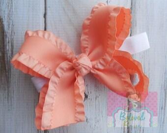 Peach Double Ruffle Hair Bow--Double Ruffle  Basic Hair Bow--Satin Double Ruffle Bow