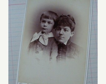 ON SALE Antique Mother and child Photo Cabinet Card