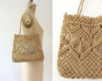 vintage market bag / summer macrame tote / Marakara tote