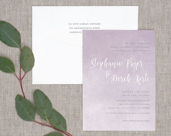 Watercolor Wash Wedding Invitations - Classic Modern Watercolor Painterly