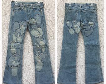 VINTAGE Cosmic Wonder patchwork bell bottom jeans