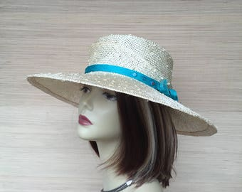 Womens Hat, Womens Straw Hat, Wide Brim Hat, Sun Hat, Mother of The Bride, Turquoise and White Hat, Sculptural Hat