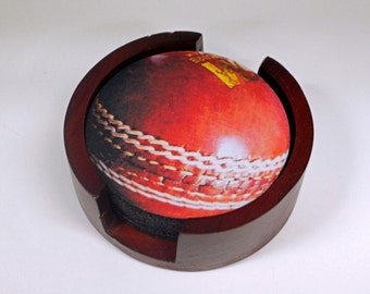 Cricket Ball Sport Coaster Set of 5 with Wood Holder
