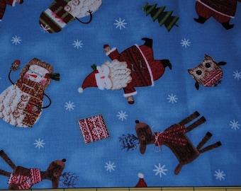 Fat Quarter Christmas Cute Textured-look Santa Snowman Reindeer Owls Fabric