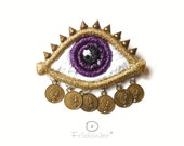 Golden Eye Brooch with money-ThousandEyes Gold and Purple-FridaWer-texile fiber embroidered art brooch-statement jewelry,blouse brooch