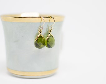 Green Crystal Teardrop Earrings, Swarovski Crystal Moss Crystal Briolette Earrings