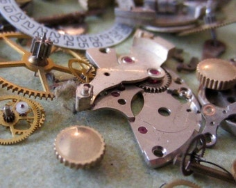 Vintage WATCH PARTS gears - Steampunk parts - x48 Listing is for all the watch parts seen in photos