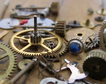 Vintage WATCH PARTS gears - Steampunk parts - b39 Listing is for all the watch parts seen in photos