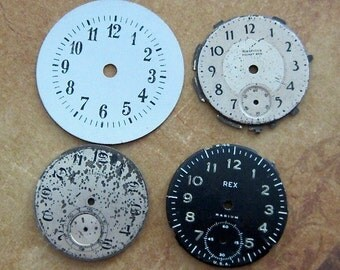 Pocket watch dials - Vintage Antique metal pocket Watch Faces - Steampunk - Scrapbooking B28