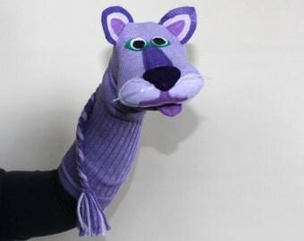 SALE Handmade Toy Purple Cat Sock Puppet