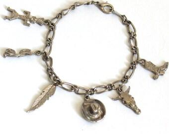 Vintage Charm Bracelet Southwestern Silver Tone // cowboy boot, steer head, cowboy hat, feather, cactus Hopi Kachina southwest
