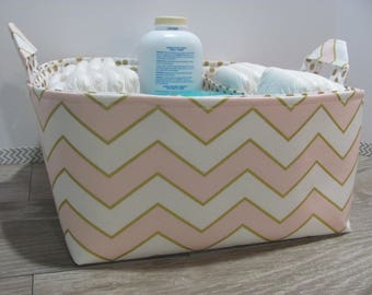 SALE Fabric Diaper Caddy - Storage Container Basket - Organizer Bin - Tote Bag - Bucket- Baby Gift - Nursery - Peach and gold chevron - RTS
