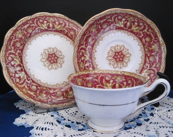 "ROYAL ALBERT  Bone China Teacup, Saucer and Plate, ""Florentine"""