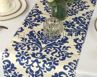 Off White Linen and Blue Damask Wedding Table Runner
