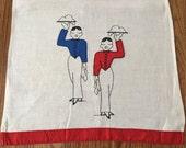 Vintage 1940s Art Deco Appliqued Butler Waiter Embroidered Kitchen Towel