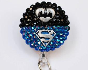 Batman VS Superman ID Badge Reel - Retractable ID Badge Holder - Zipperedheart