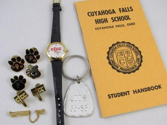 10 pc. vintage lot Cuyahoga Falls High School CFHS / Ohio / chamber of commerce / CFCC / student handbook / pins / keychain / wrist watch