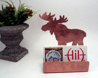 Moose Business Card Holder, Hammered Copper Desk Accessories, Moose lover gifts Moose items gifts for animal lovers Copper Card Holder