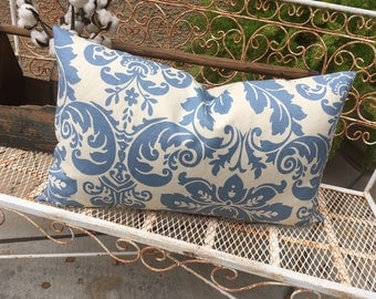 Wedgewood Blue  and Cream Damask Lumbar Pillow Cover   Cottage / Farmhouse / Beach / Contemporary Decor  Ready to Ship