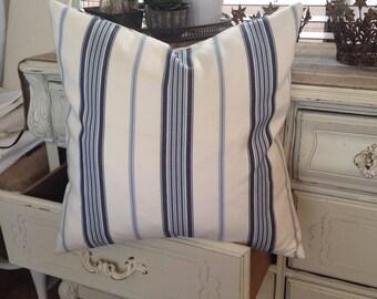 French Ticking  Shades of Blue Stripe Pillow   Farmhouse / Lake House / Coastal Cottage / Beach / Nautical / Cottage Chic