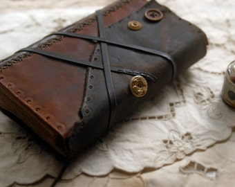 Afterthoughts - Rustic Leather Journal, Aged Paper, Vintage Buttons, OOAK