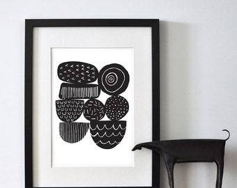 Abstract Seed Heads In Black - Open Edition Giclee Print