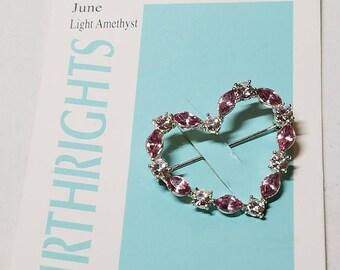 Heart Pin Villager Birthrights Pin June light Amethyst Pin Vintage