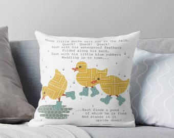 "Ducks Throw Pillow with Insert, 16"" x 16"", Three Yellow Ducks with Blue Boots Splashing in Puddle, Bee Bowers Quote, Nursery Childrens Decor"
