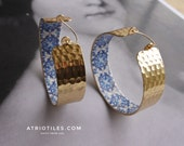 Portugal Antique Azulejo Tile Replica LARGE HOOP Earrings - Church of Mercy PoRTO 1590 - Buried Treasure 2""