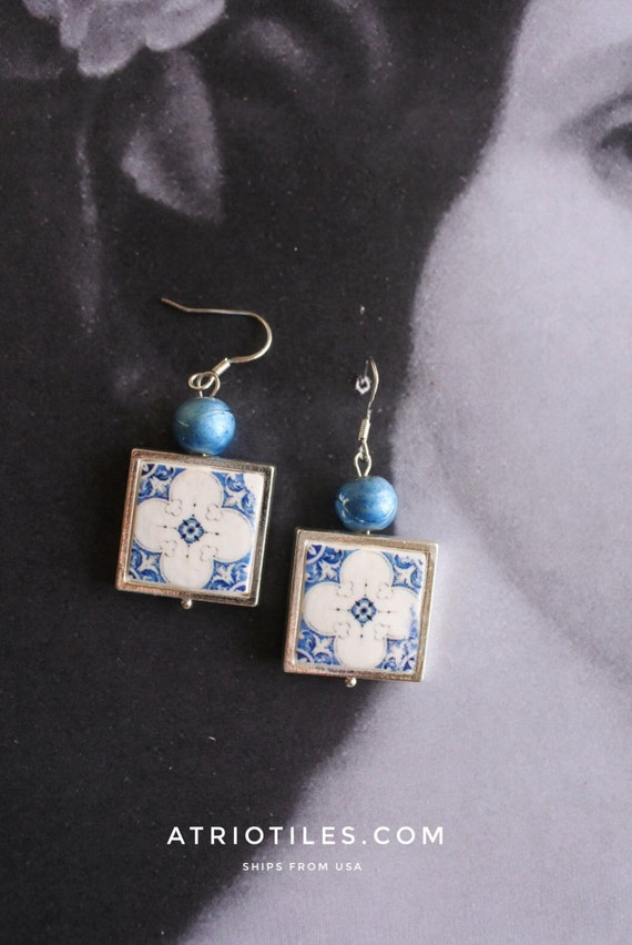 Silver Earrings Portugal Tile Azulejos Portuguese Blue FRAMED  - PORTO and Alcobaça (see Facade photos- abandoned house) - Gift Boxed 814a