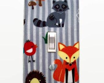 Woodland Light Switch Cover - Fox Nursery Switch Plate Cover - Woodland Nursery Decor - Baby Room Forest Friends - Woodland Nursery Plate
