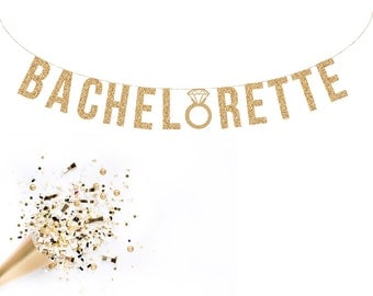 Bachelorette Party Decorations . Bachelorette Banner | Bachelorette Sign Bachelorette Party Decorations Bridal Shower Gold Glitter Letters
