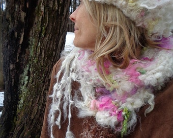 RESERVED - rustic hand knit winter wool headband -   wild winter snow rose queen crown