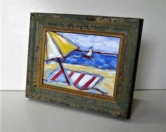 "Framed acrylic beach painting, 9 3/4"" x 7 3/4"", Shabby nautical decor, Original Sailboat art canvas, Impressionist wall art, gift idea"